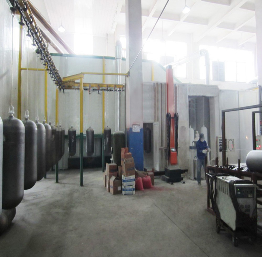 Gas cylinder spraying and curing drying unit