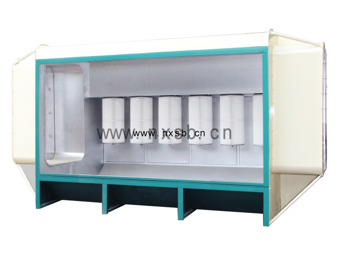 Spray powder recycling booth